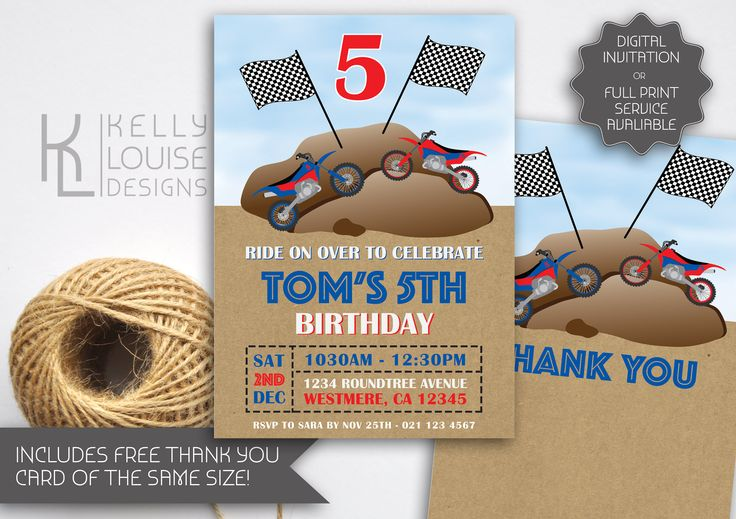 Dirt Bike Birthday Invitation | Trail Bike | Motorx Birthday | Motorbike Invitation | Motor Cross | Off Road Bike Invitation (067) by kellylouisedesigns on Etsy