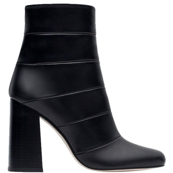 Pre-owned Zara New Box Leather Heels Ankle Nib 8 Black Boots (510 AED) found on Polyvore featuring women's fashion, shoes, boots, ankle booties, black, high heel boots, black ankle boots, black boots, black leather bootie and high heel booties
