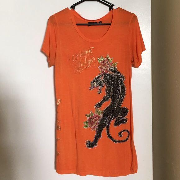 Christian Audigier Orange rhinestone panther shirt Christian Audigier Orange rhinestone panther shirt. Size large. 100% bamboo. Christian Audigier Tops