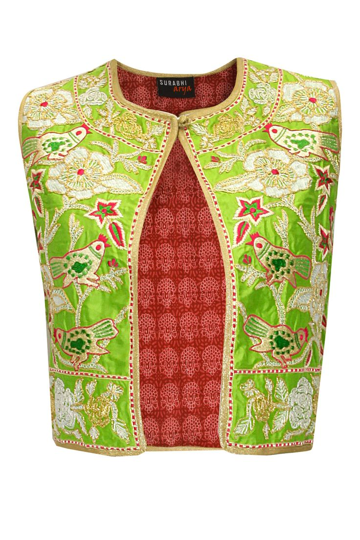 Green bird embroidered short jacket by Surbhi Arya. Shop at: www.perniaspopups... #jacket #surbhiarya #designer #chic #shopnow #perniaspopupshop #happyshopping.