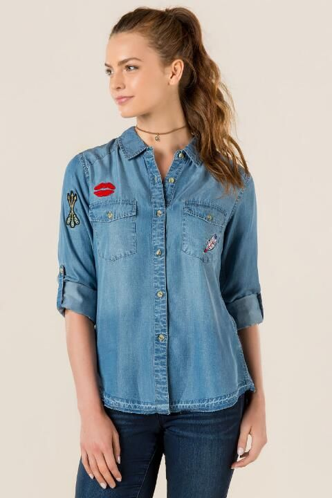 Kayden Patch Chambray Button Down Top- Chambray