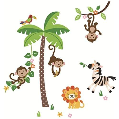 Awesome Jungle Monkeys Giant Peel u Stick Wall Sticker Decal for Infant Baby Nursery Kids Room
