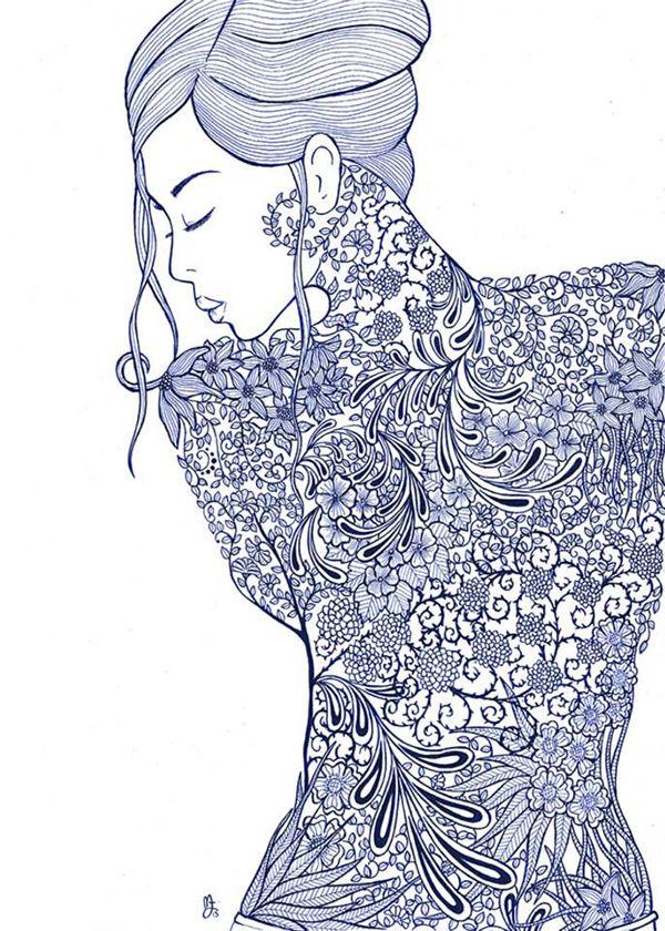 la femme 2013 art tattoosadult coloringcolouringcoloring booksbody - Body Art Tattoo Designs Coloring Book