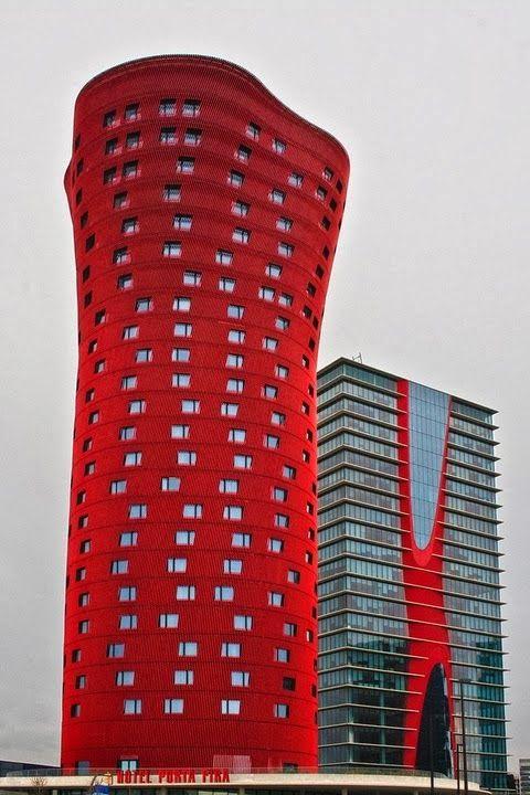 Hotel Porta Fira (aka Torres de Toyo Ito) with Torre Realia BCN #Barcelona #Spain