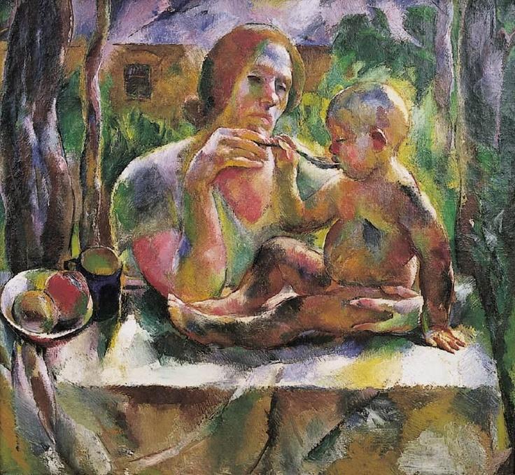 Aba-Novák, Vilmos (1894 - 1941)  Tea in the Summer Garden (Mother's Son)  Date: 1926