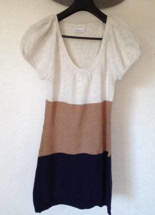 À vendre sur #vintedfrance ! http://www.vinted.fr/mode-femmes/robes-casual/26386829-robe-pull-lainage-beige-brun-bleu