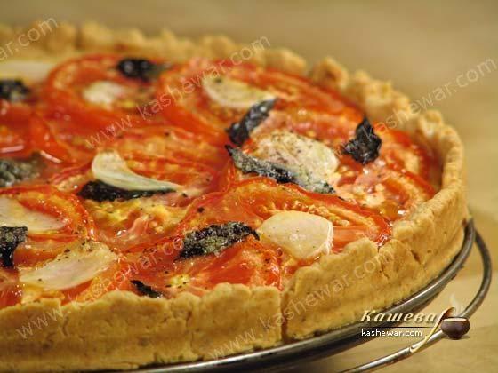 Пирог с помидорами и базиликом.        Испанская кухня       Пирог с помидорами и базиликом – рецепт приготовления блюда испанской кухни, очень простой и вкусный пирог из песочного теста.   Ингредиент…