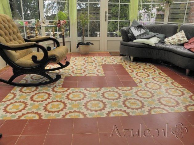 Cement tiles Living Room - Verde 10 - Egal Rosso S840 - Project van Designtegels.nl