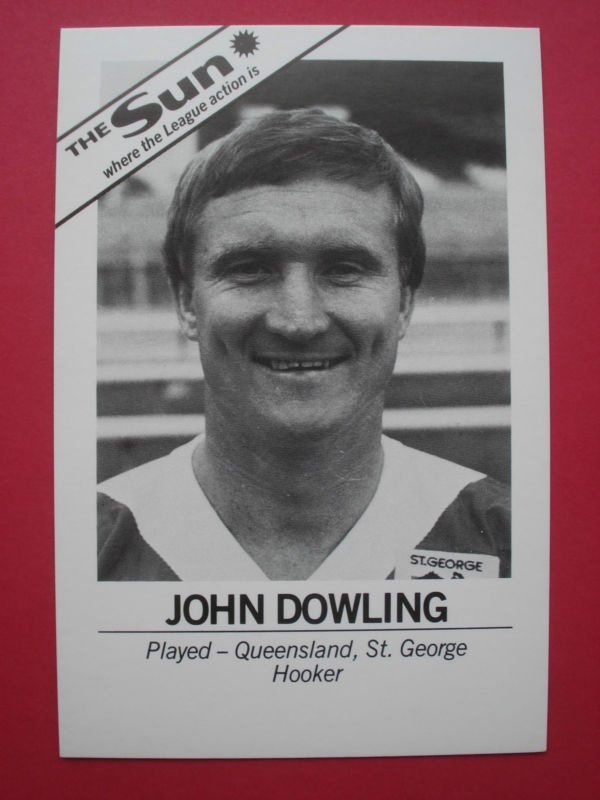 The SUN Newspaper John Dowling St.George Dragons Rugby League card 1980's NRL | eBay