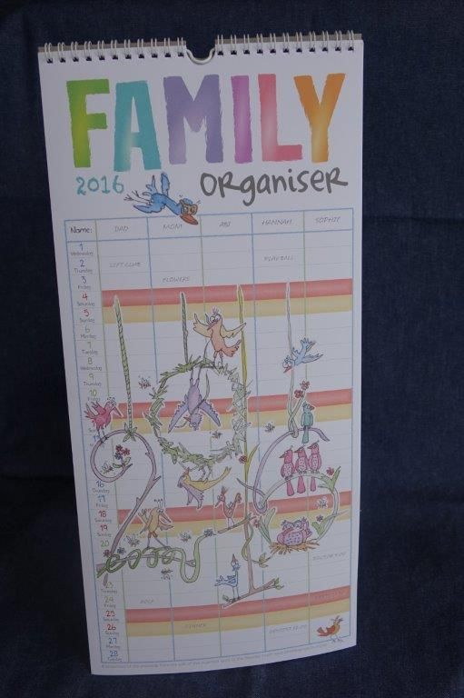 2016 Family Organiser Calendar (448mm x 210mm x 13 pages) by Fred and Mia, $9.00 USD