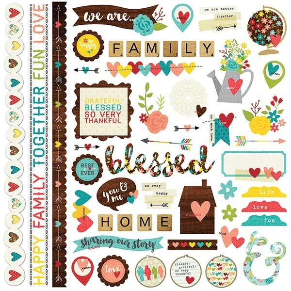 Simple Stories We Are...Family - Fundamentals Cardstock Stickers