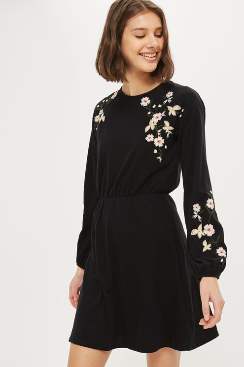 Embroidered Balloon Sleeve Mini Skater Dress - Topshop