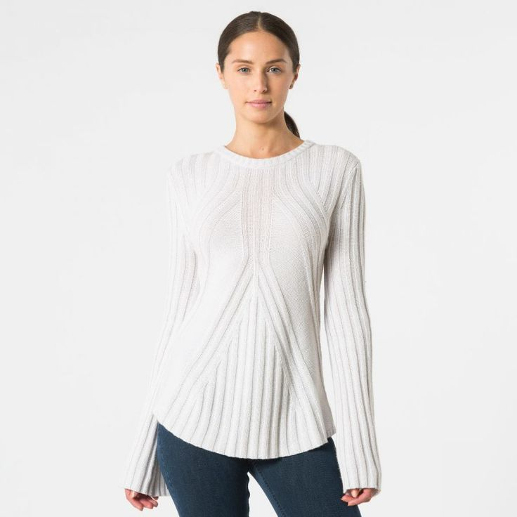 Autumn Cashmere ribbed top with bell sleeves front view