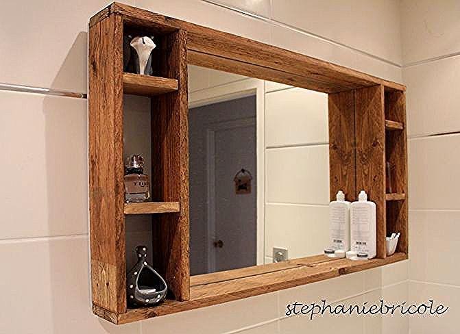 Diy Deco Recup Un Miroir Avec Rangement En Palette Pour La Salle De Bain Stephanie Bricole Storage Mirror Scandinavian Bathroom Vintage Farmhouse Decor