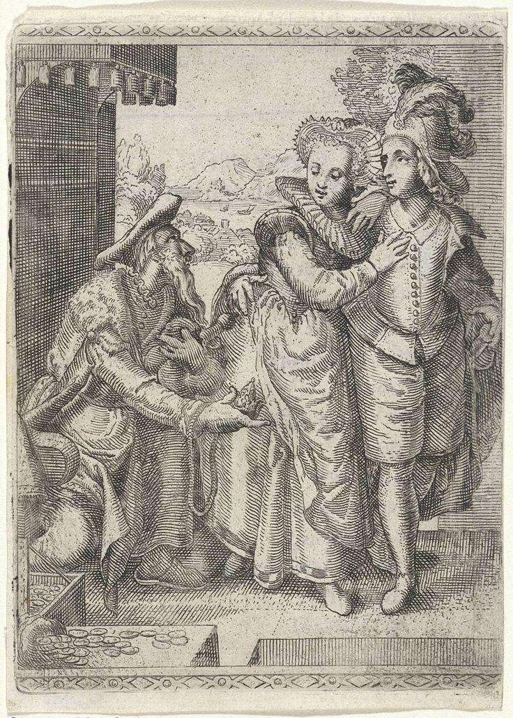 Jong paar loopt langs oude man die geld aanbiedt, anoniem, 1607