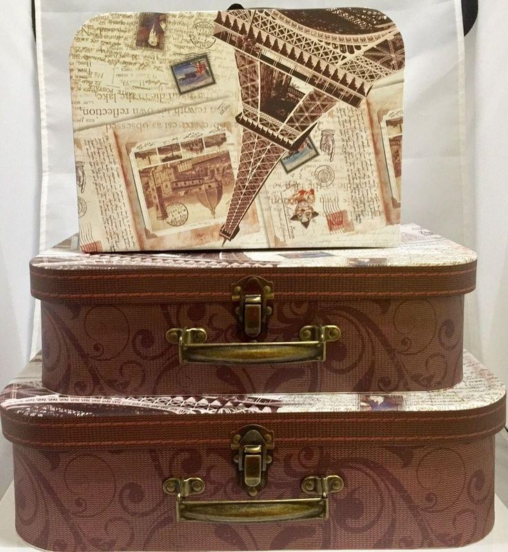 Extra Large Suitcase Paris Style Set of 3 Vintage Box Shabby Chic Storage Boxes #Quidin