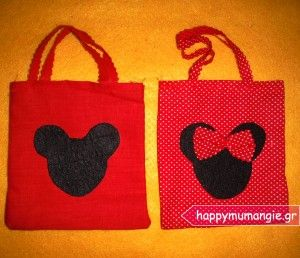 Mickey mouse - minnie mouse handmade gift bags