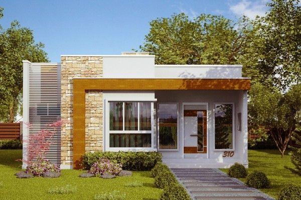 Projetos e fachadas  de casas térrea moderna sem telhado até 100 metros.