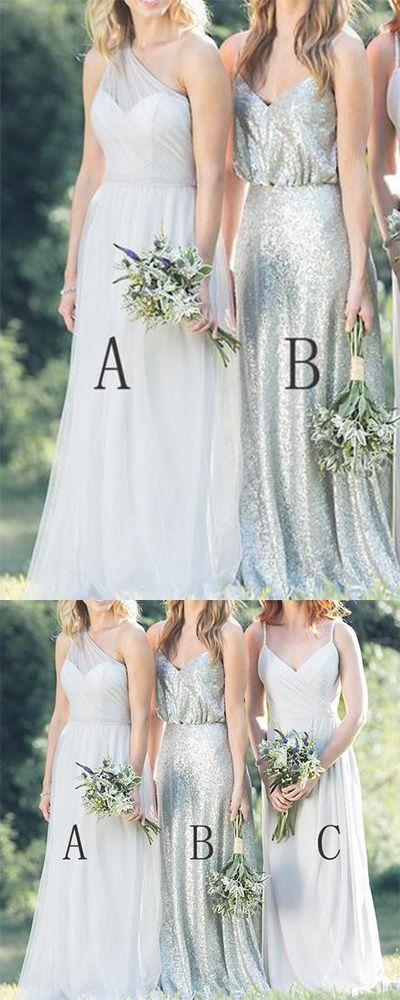 Mismatched Chiffon Sequin A Line Spaghetti Straps One Shoulder Cheap Bridesmaid Dresses PH414,#oneshoulder#chiffon#aline#cheap#bridesmaiddress#dressforwedding