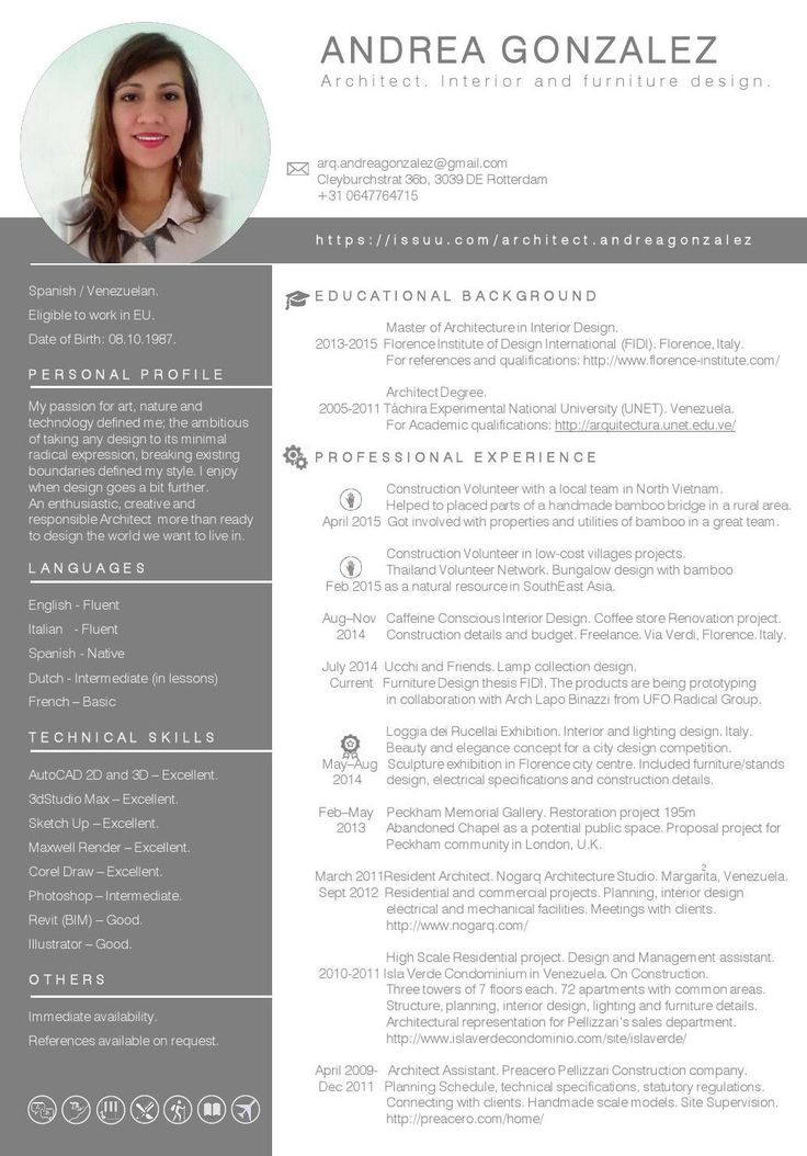 resume design and layout