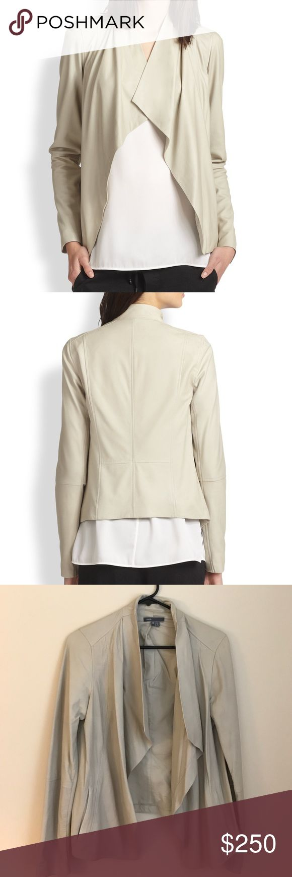 Vince Leather Jacket Beige leather jacket with cotton lining. Perfect layer for spring! Never been worn! Vince Jackets & Coats