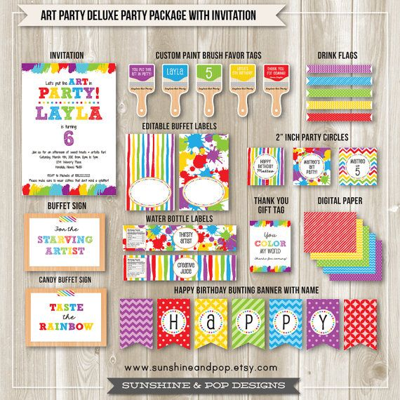 Art Party Rainbow Party Paint Party Package Digital Invite, Party Favor Tags, Banner, Thank you tag by SunshineAndPop on Etsy #artparty