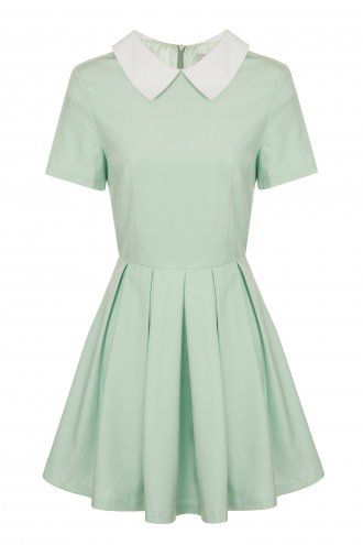 Mint Contrast Collar Box Pleat Skater Dress- This dress is just begging for some grunge/Punk accessories and combat boots