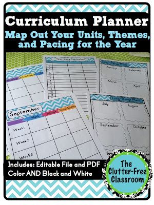 Clutter-Free Classroom: Curriculum Planner {Editable Maps, Pacing Guide, Lesson Planner, Teacher Organization Tool}