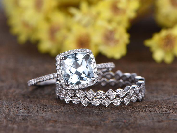 1.4 Carat Cushion Cut Aquamarine Wedding Set Diamond Bridal Ring 14k White  Gold Art Deco Full