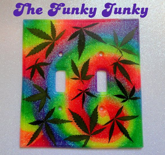 Real Marijuana Leaf Double Light Switch Cover