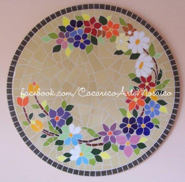 Quadro floral. www.facebook.com/CacarecoArteMosaico