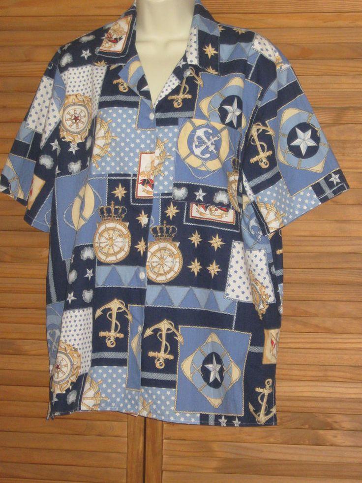 Cabin Creek Blue Nautical Short Sleeve Button Blouse Top Size L #CL210 #CabinCreek #ButtonDownShirt #Casual