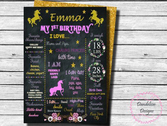 Unicorn 1st Birthday chalkboard unicorn gold glitter Poster