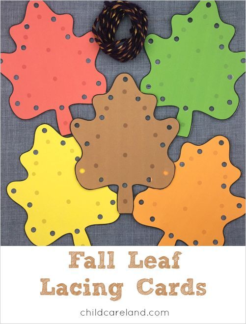 fall leaf fine motor lacing cards for preschool and kindergarten