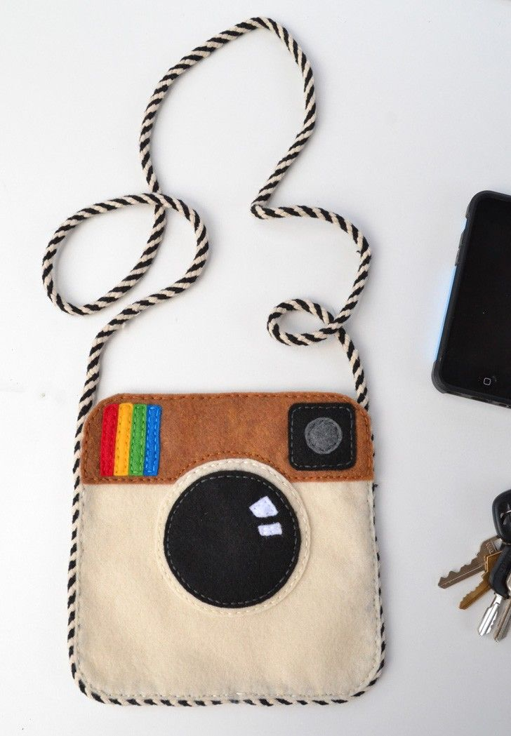Whip up an Instagram purse with felt. It will only cost you a few dollars and be…