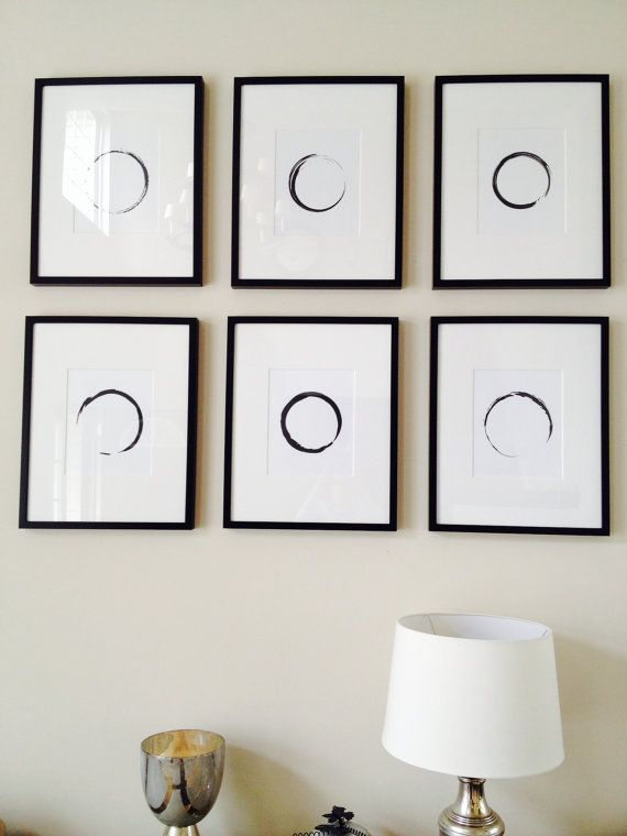 Minimalist Circle Black and White Wall Art by MelindaWoodDesigns