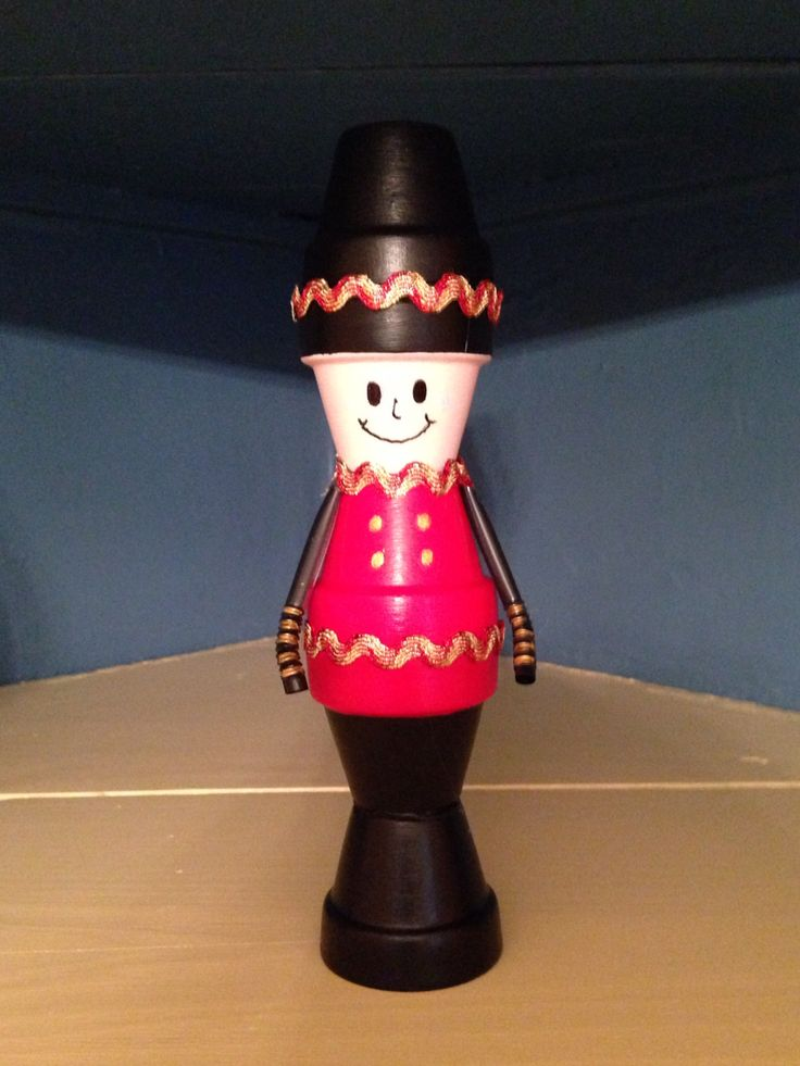 Clay pot toy soldier clay pot crafts clay flower pots