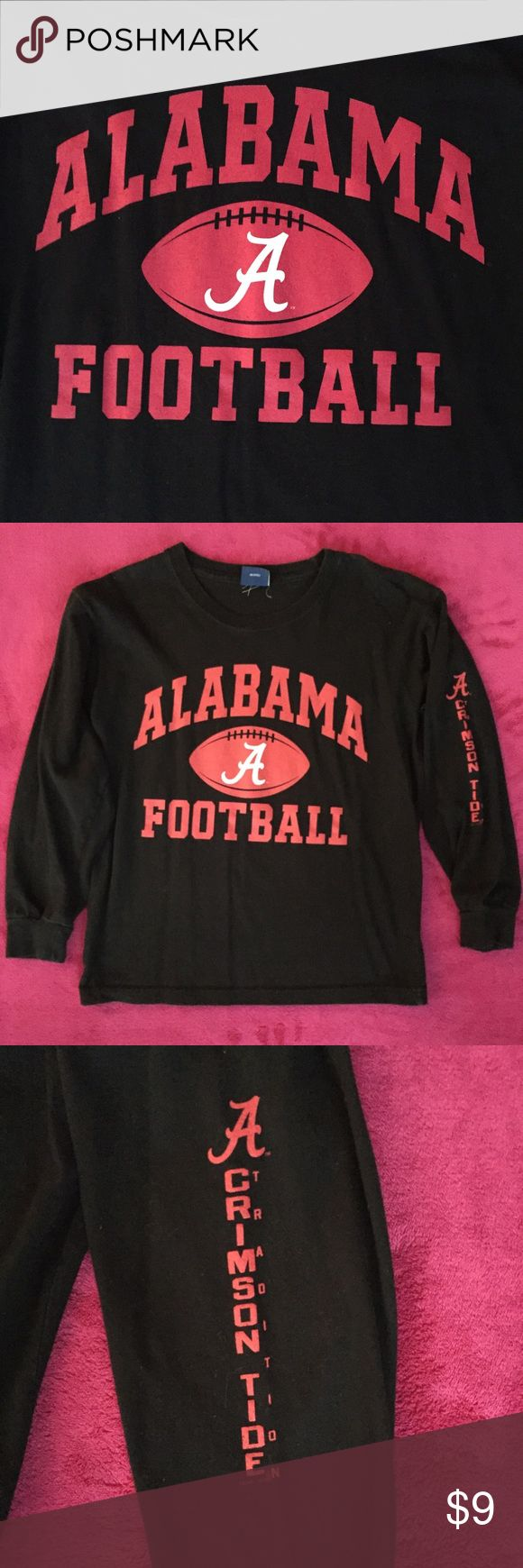 BLACK LOBH SLEEVE ALABAMA FOOTBALL TSHIRT Black, long sleeve Tshirt with Alabama Football across the front in red and Crimson Tide in red down one sleeve. Shirt is in great condition. OVB Old Varsity Brand Shirts & Tops