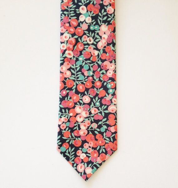 Red floral tie Liberty of London Tie custom tie by staghandmade