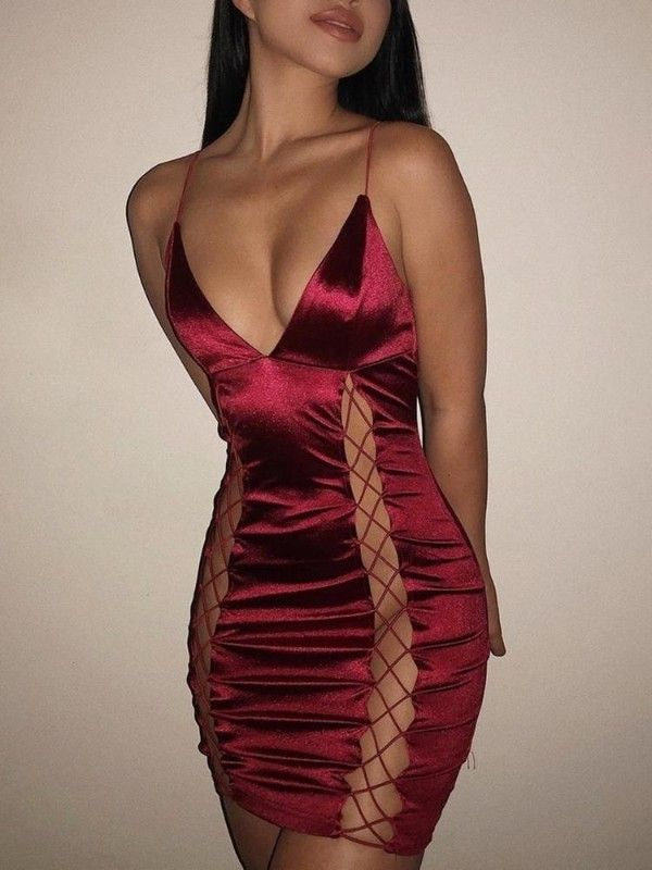 e0b8c43990 Sexy Deep V-Neck Lace Up Sheath Slip Party Dress