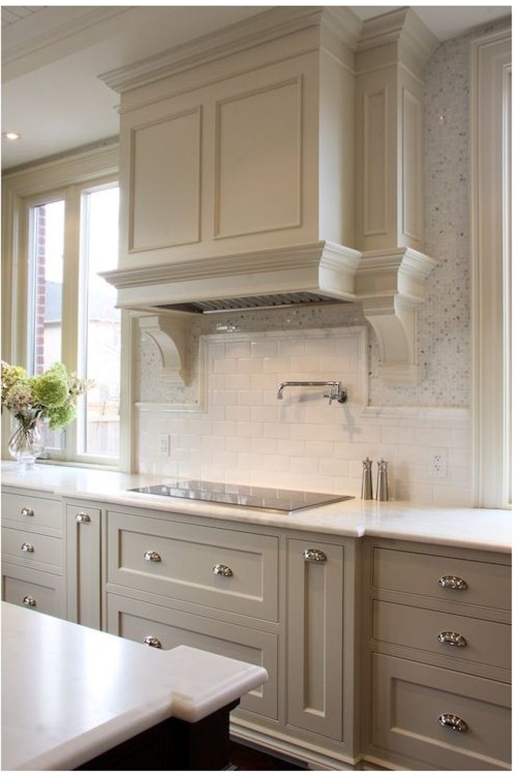 84 best kitchen envy images on pinterest home ideas kitchen nice neutral light gray kitchen cabinets paired with honed marble countertops and two types of kitchen backsplash white glass mosaic tiles and white dailygadgetfo Image collections
