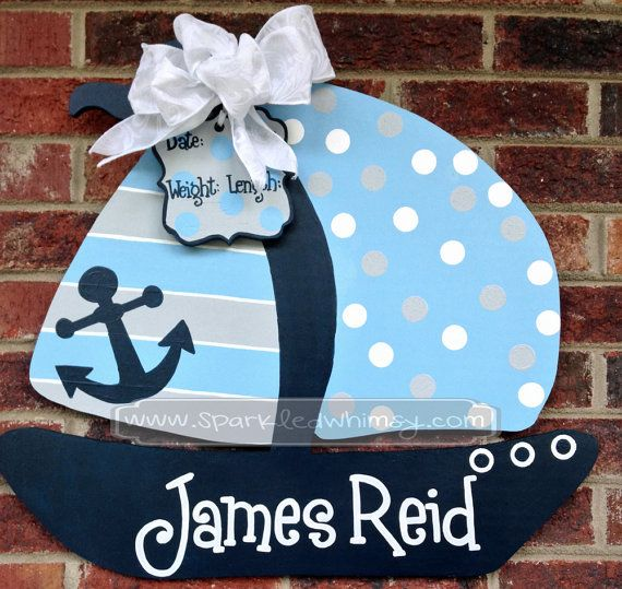 Personalized Baby Announcement Sailboat Door by SparkledWhimsy