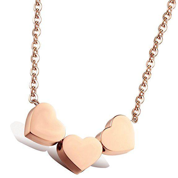 Flongo Flongo Edelstahl Anhänger Halskette Rose Gold 3 Herz Polished Charm Damen,mit 45cm Kette