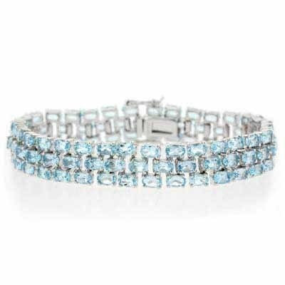 Paris Jewelry 35 Carat Genuine Blue Topaz Sterling Silver Bracelet $199