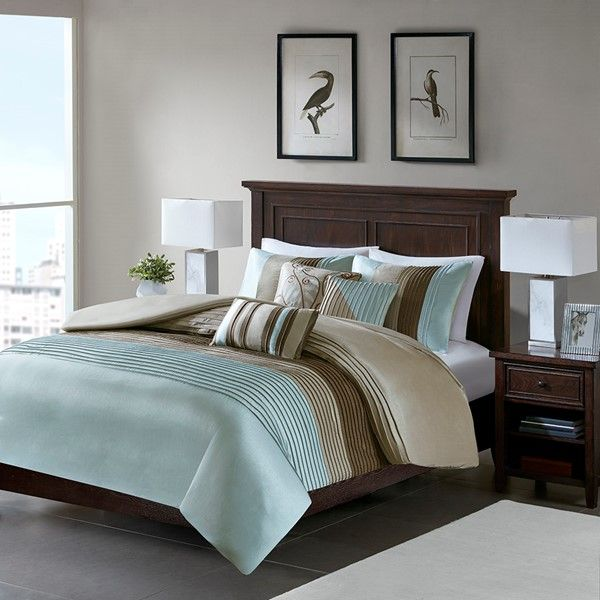 Madison Park Amherst King Cal King 6 Piece Duvet Cover Set In Blue