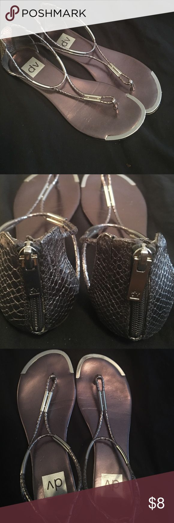DV For Target flat pewter sandals Gently worn pewter sandals with snake embossed print and dark stainless steel colored hardware and reinforced toe. Zip in back to close.  Super cute for summer, unfortunately they were just a bit too small for me. DV by Dolce Vita Shoes Sandals