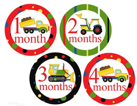 Boy Monthly Stickers Trucks Baby Month by WatchMeGrowStickers