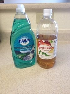 All-natural Hardwood Floor Cleaner So easy to make and boy does it do GREAT job! 2tablespoons of Dawn dish soap with a 1/4 cup of Apple Cider Vinegar and a gallon of warm-hot water (to break up the dirt).