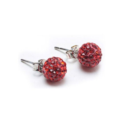 You will feel like clicking your heels together three times when you wear these super sparkly Shamballa inspired earrings. For the latest in high style, don these disco ball studs that blaze like fire in a fiercely red color. Representing beauty and glamor, crystal stud earrings are the hottest trend amongst fashionistas. These shining disco ball studs are perfect for holiday parties or to achirve and everyday edgy look. Crafted from ...
