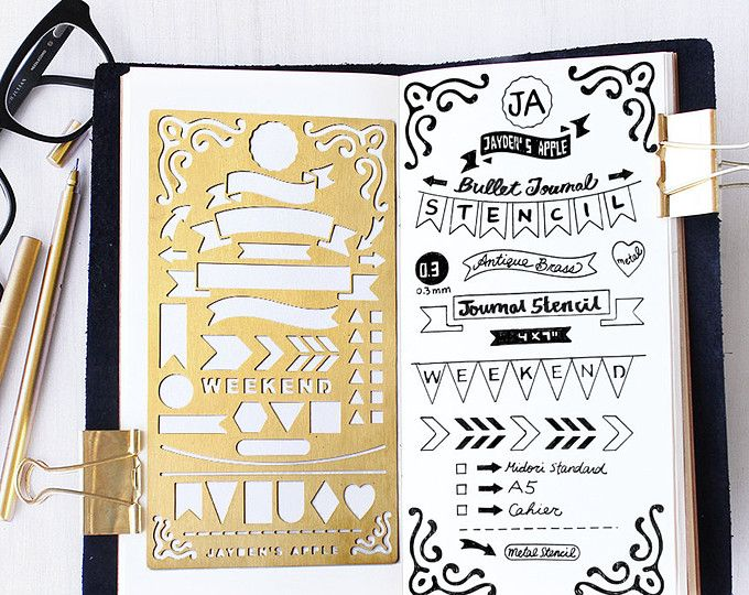 Planner Stencil, Bullet Journal Stencil, Nature, Flowers Stencil – fits A5 journal & Midori Regular